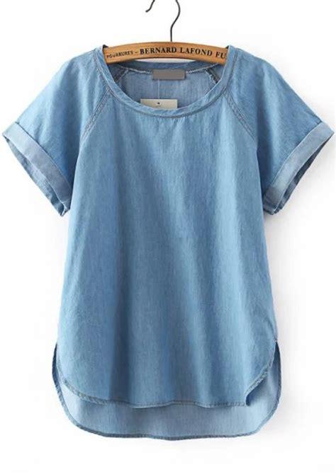 Hem Blus blue sleeve dip hem denim blouse abaday