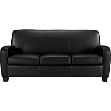 Mainstays Faux Leather Sofa Black Walmart Com