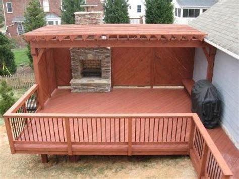 Outdoor Fireplace On Wood Deck by Covered Deck Pictures