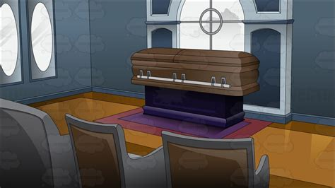 inside a funeral home vector clip