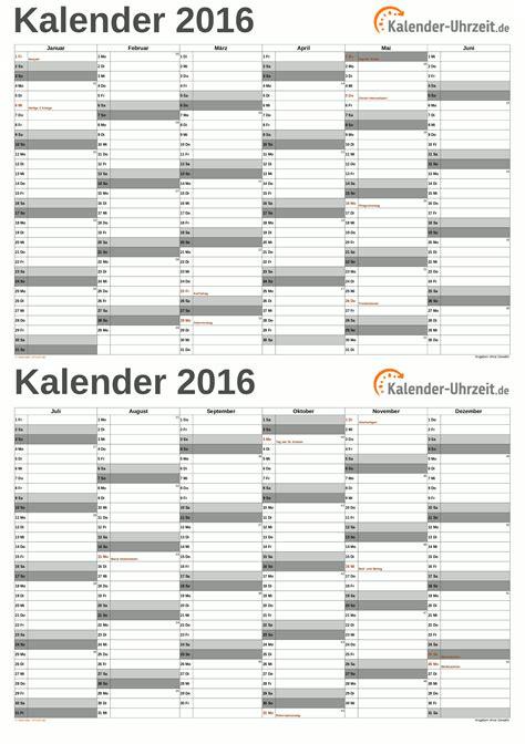 Ausdruck Kalender 2016 Excel Kalender 2016 Kostenlos