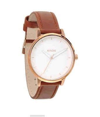 nixon the kensington brown leather gold s