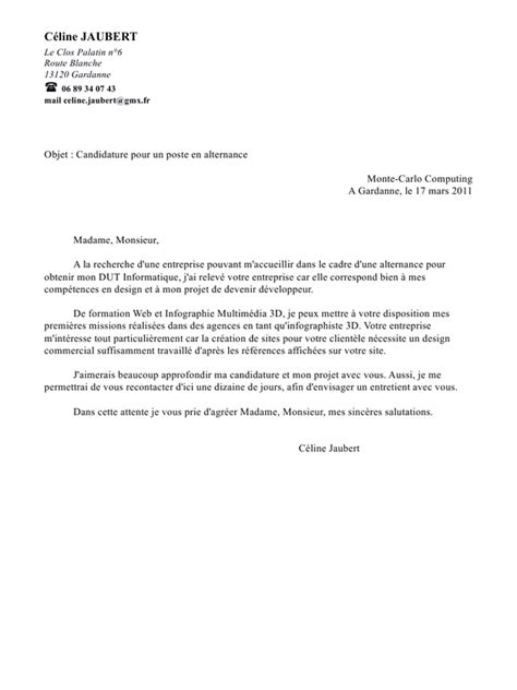 Lettre De Motivation Vendeuse Alternance Lettre De Motivation Alternance Objet Document