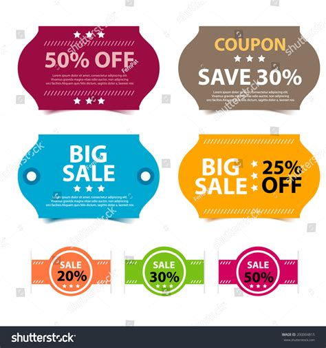 colorful promotions vector coupon big sale 50 30 and 25