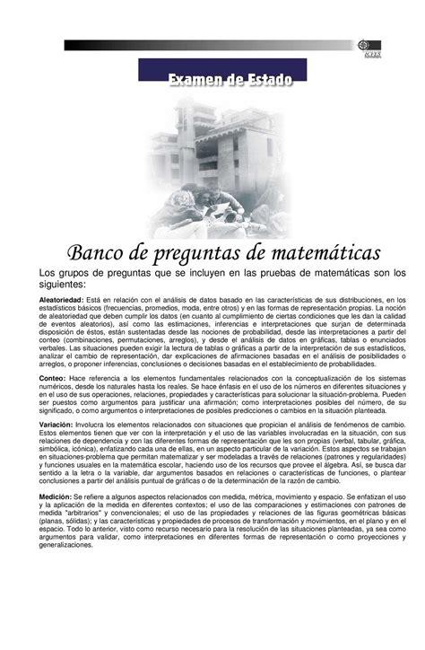 preguntas de matematicas tipo icfes para grado 6 calam 233 o preguntas tipo icfes matematicas
