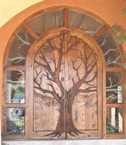 Front Door Trees Oak Tree Door Design Carved Wilderness Nature Theme Door Entrance