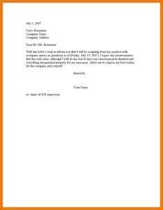 1 week notice resignation letter sle simple format of resignation letter resume layout 2017