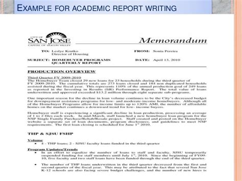 Writing Academic Reports Exles by Report Writing