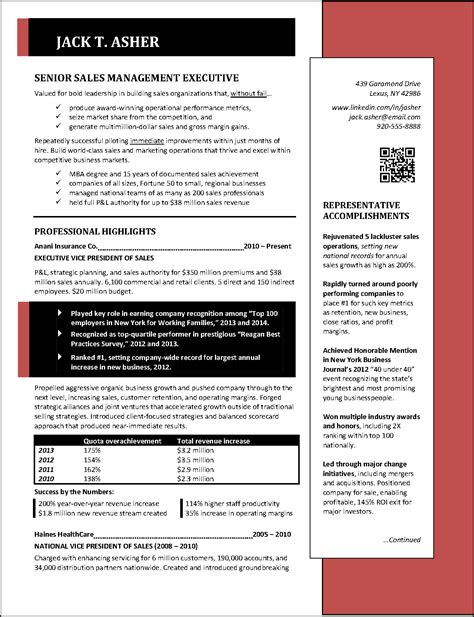 Resume Sles Senior Management Executive Sales Resume Page 1 Png