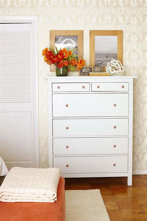 ikea dresser hack before and after bedroom makeover with moss and coral