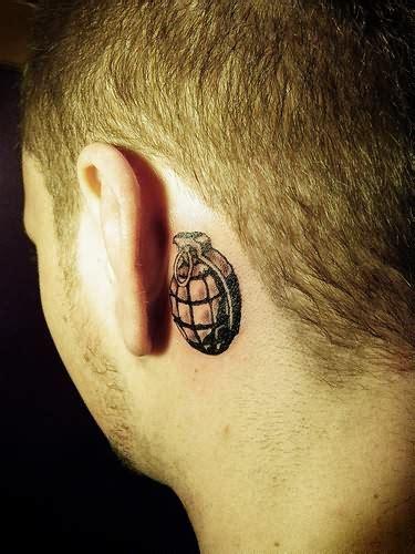 tattoo behind ear in military grenade tattoo behind ear