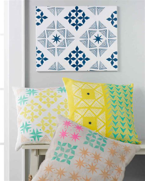 martha stewart craft for diy stenciled throw pillows martha stewart