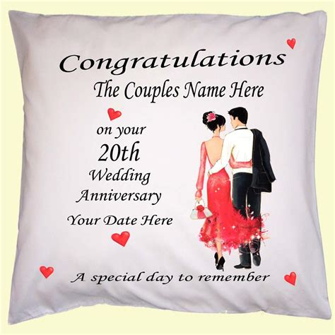 Wedding Anniversary Gift With Name by Wedding Anniversary Personalised Gift Cushion Cover Name