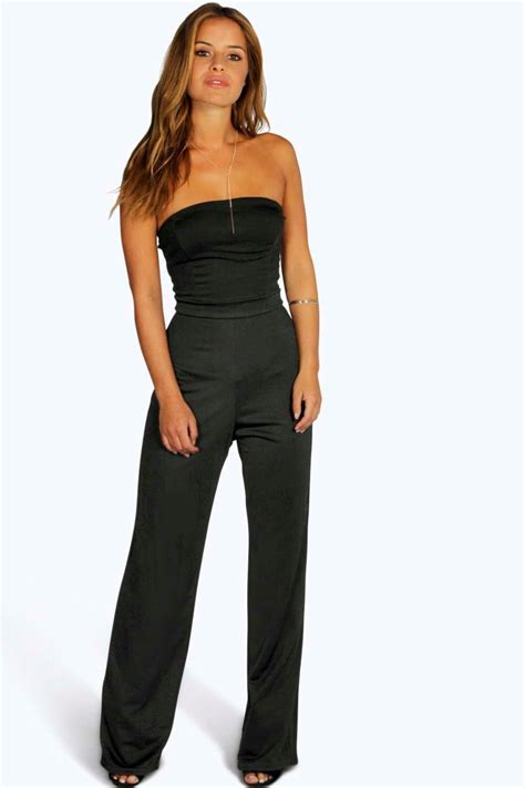 ebay jumpsuit boohoo womens petite bandeau wide leg jumpsuit ebay