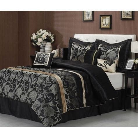 black and gold queen comforter set details about new 7 pc black grey gold silver floral