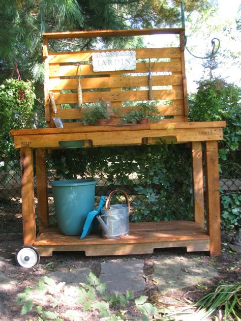 potting bench made from pallets potting bench made from pallets outdoors pinterest