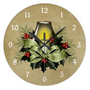 Candles Home Decor pretty green christmas candle holiday wall clock