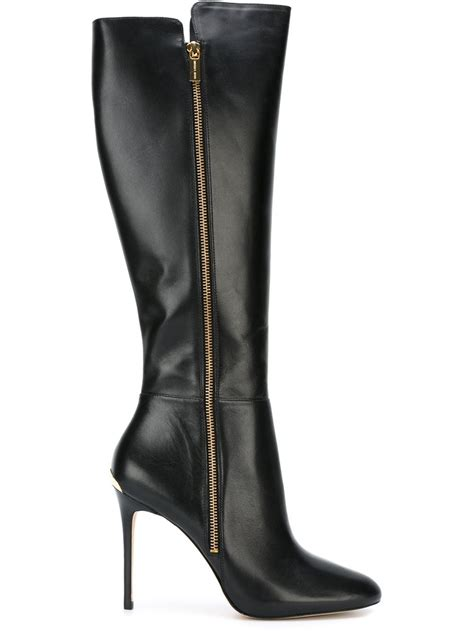 high black boots lyst michael michael kors knee high stiletto boots in black
