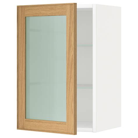 Metod Wall Cabinet W Shelves Glass Door White Ekestad Oak Kitchen Cabinet Door Shelves
