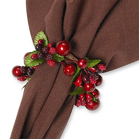 iridescent berry napkin rings set of 4 bed bath beyond