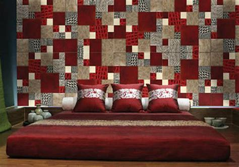 decorating bedroom walls with fabric modern wall decor in patchwork fabric style wall design