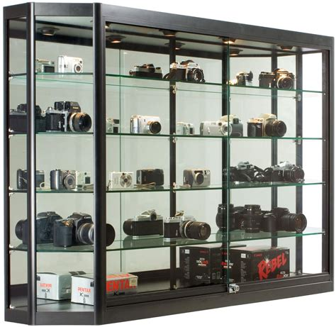 5x3 Wall Mounted Display Case W Mirror Back Sliding Doors Wall Display Cabinets With Glass Doors