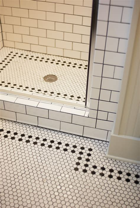tile flooring ideas bathroom white bathroom with black and white mosaic tiles flooring feat subway tiles wall