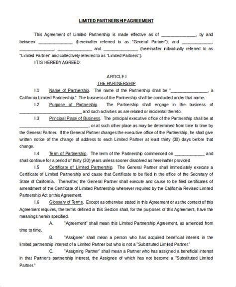 limited partnership agreement template 9 sle partnership agreement forms free sle
