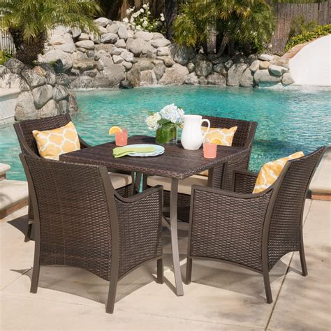 orchard outdoor 5 piece aluminum dining set with tan