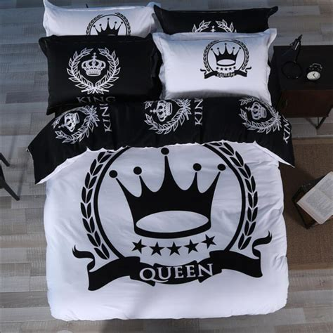 black and white crown bedding set king queen size luxury 3