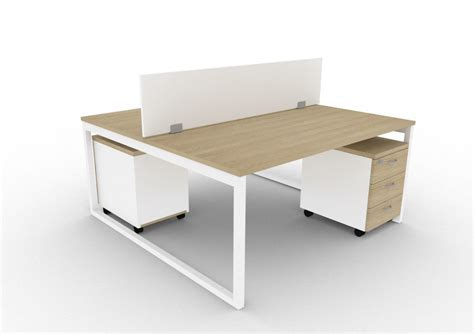 2 person bench 2 person bench desk with screen divider and pedestal