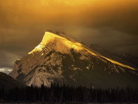 golden mountain nature golden peaks of rundle mountain banff national park albert picture nr