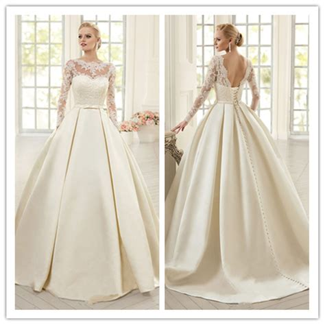 Brautkleider Satin by Aliexpress Buy Ivory Lace Wedding Dresses