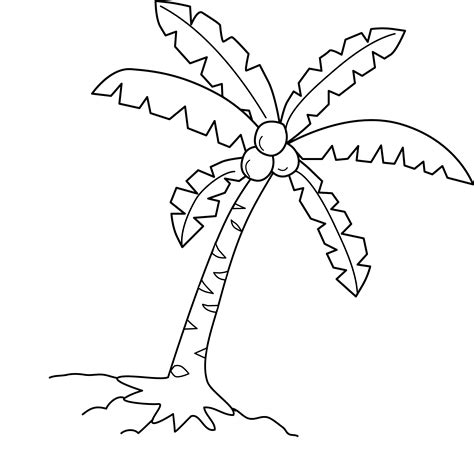 coloring page of a coconut tree coconut tree coloring page free clip art