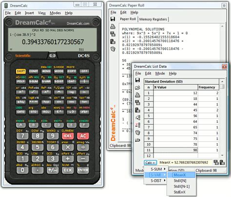 calculator for windows dreamcalc dcs scientific calculator shareware version 4 8