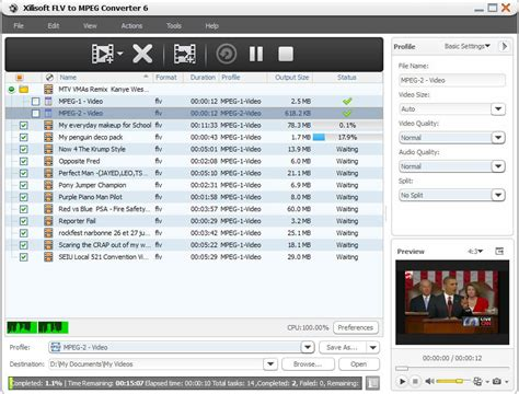 converter to mpeg xilisoft flv to mpeg converter screenshot