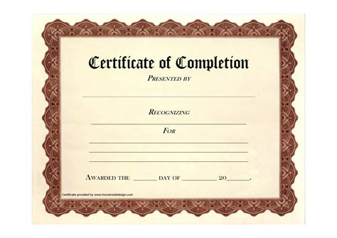 free printable certificate of completion template blank certificate of completion template helloalive
