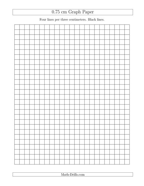 printable graph paper math drills 0 75 cm graph paper with black lines a
