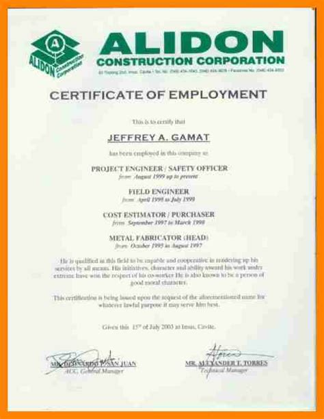 8 certificate of employment sle cover title page