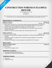 Construction Foreman Resume Sample resume samples and how to write a resume resume companion