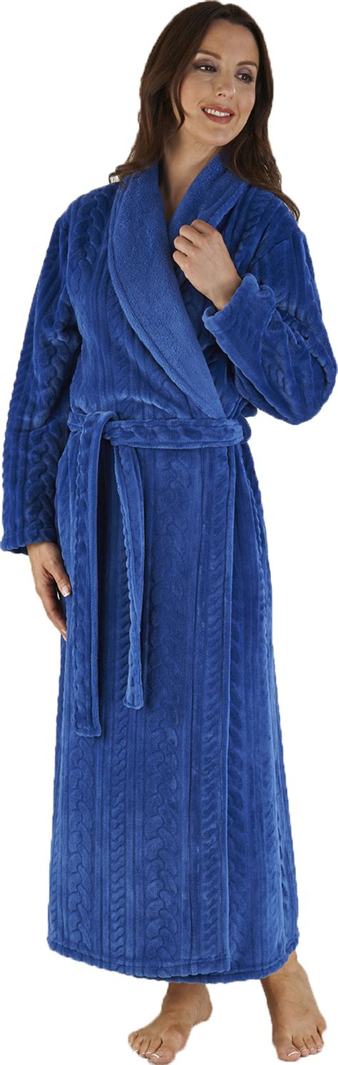 dressing gown slenderella length luxury wrap fleece dressing gown