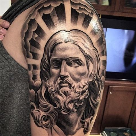 jesus piece tattoo amazing artist lil b hernandez jesus arm view2