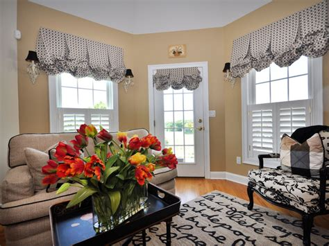 flowers for home decor neutral sitting room with black and white valances hgtv