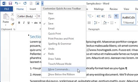 quick layout command word 2013 how to automatically format an existing document in word 2013