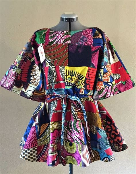 Ankara Patchwork - wax print patchwork drawstring tunic with half