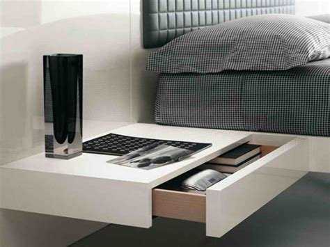 Wall Mounted Bedside Furniture Sleek Wall Mounted Bedside Table With Storage