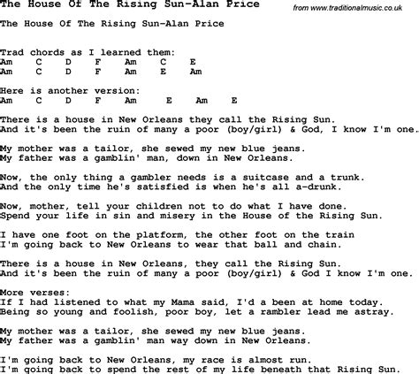 house of the rising sun lyrics summer c song the house of the rising sun alan price with lyrics and chords for