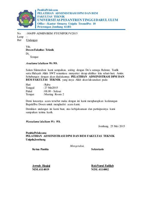 surat undangan dosen bem unipdu jombang