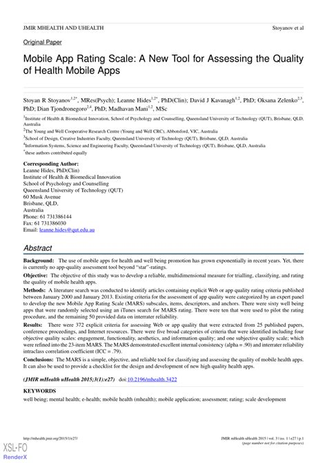 scale mobile pdf mobile app rating scale a new tool for assessing