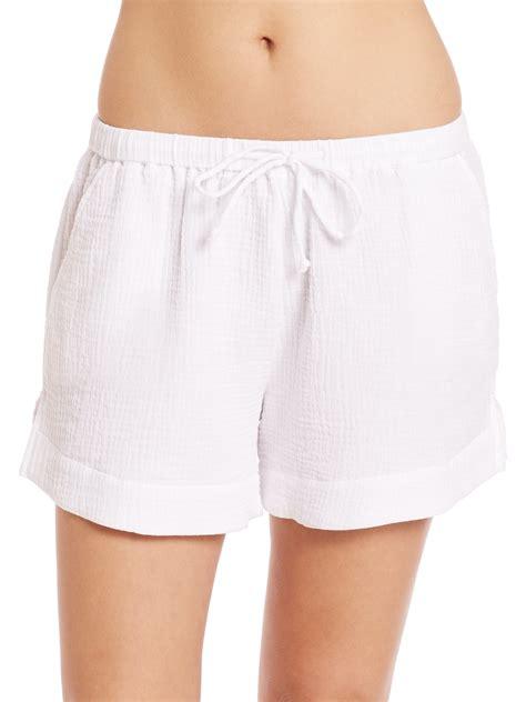 Drawstring Shorts lyst skin cotton drawstring shorts in white